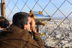Telescope on Eiffel Tower Stock Image