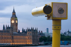 Telescope facing the Houses of Parliament Royalty Free Stock Image