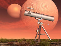 Telescope in front of two planets Stock Photo