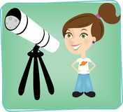 Telescope girl. Young girl looking through her telescope at the night sky above Royalty Free Stock Photo