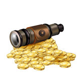 Telescope with golden coins isolated on white Stock Photo
