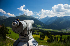 Telescope. The high Alp panorama via old telescope Stock Images