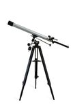 Telescope isolated on white. Telescope mounted on a tripod isolated on white. Clipping path included Stock Photo