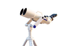 Telescope isolated on white background for search star universe, Royalty Free Stock Photos
