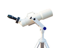 Telescope isolated on white background for search star universe, Royalty Free Stock Image