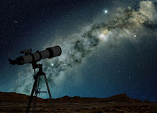Telescope and milky way Stock Image
