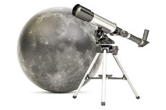 Telescope with moon, 3D rendering Stock Image