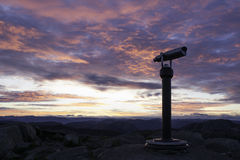 Telescope on the mountain. Sunrise in the mountain, Dalsnutet, Norway Royalty Free Stock Photos