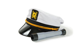 Telescope and nautical cap Royalty Free Stock Images