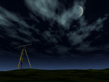 Telescope in the night. A telescope pointing at the stars and moon at night