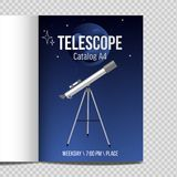 Telescope with night sky Catalog A4 flat design icon. Isolated. Moon and planet icon vector illustration