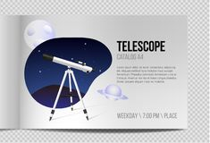 Telescope with night sky Catalog A4 realistic design. Icon isolated. Moon and planet icon royalty free illustration
