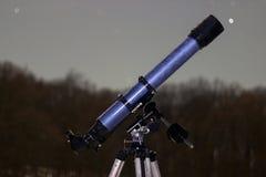 Telescope in night sky Winter edition frozen telescope Stock Image