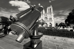 Telescope in NotreDame cathedral, Paris Royalty Free Stock Photo
