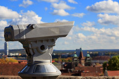 Telescope in the Nuremberg castle, view of the city Stock Photos