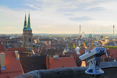 Telescope in the Nuremberg castle, view of the city, Royalty Free Stock Images