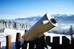 A telescope for observation of Zakopane Stock Photography