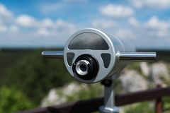 Telescope at old fortified settlement. At the birów limestone mountain, Poland Royalty Free Stock Image