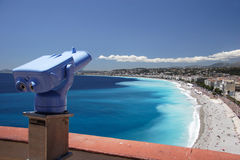 Telescope over Nice beach. Nice, France royalty free stock image