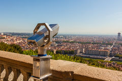Telescope overlooking for Lyon, France, cityscape from above Stock Image