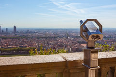 Telescope overlooking for Lyon, France, cityscape from above Stock Photography