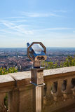 Telescope overlooking for Lyon, France, cityscape from above Royalty Free Stock Image