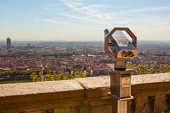 Telescope overlooking for Lyon, France, cityscape from above Stock Images