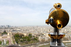 Telescope overlooking Paris Royalty Free Stock Photography