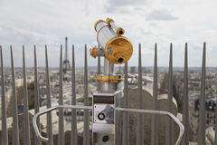 Telescope overlooking  for Paris. View for Eiffel tower Stock Photo