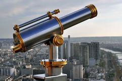 Telescope in paris. A telescope on the top of the eiffel tower Stock Image