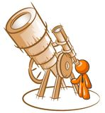 Telescope and person Royalty Free Stock Photo
