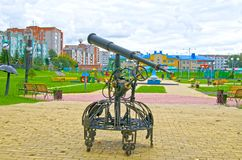 Telescope. Playgrounds in a public park. Autumn. Russia. Siberia stock photo