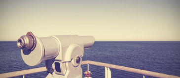 Telescope pointed at the horizon. Stock Image