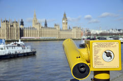 Telescope pointed at Houses of Parliament, London Royalty Free Stock Image