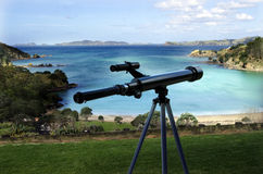 Telescope pointing at the sea Royalty Free Stock Images