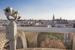 Telescope pointing to landmarks over Metropol Parasol roof, Sevi Royalty Free Stock Photo