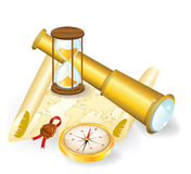 Telescope, sand-glass and compass on old map Royalty Free Stock Photography