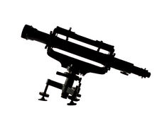Telescope silhouette on white Stock Photo