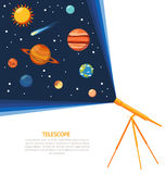 Telescope solar system concept poster Stock Photography