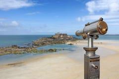 Telescope in St Malo stock photo