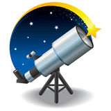 Telescope and a star in the sky. Floating Royalty Free Stock Photos
