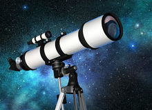 Telescope in a starry blue sky. White telescope in a starry blue sky Stock Image