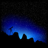 Telescope and stars. Detailed illustration of a telescope with a starry sky Royalty Free Illustration