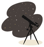 Telescope and stars vector. Illustration of a silhouette of a telescope under a night sky full of stars + vector eps file Royalty Free Stock Image