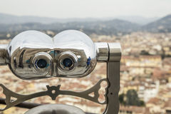 Telescope to observe Florence city in Italy. Stock Photo