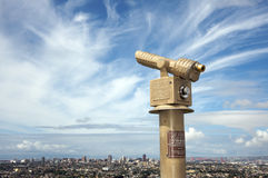 Telescope to see Long Beach. California. Windy day and interesting clouds Royalty Free Stock Image