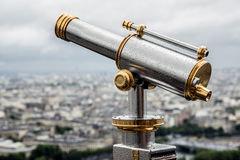 Telescope on top the Eiffel Tower Stock Image