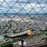 Telescope for tourists on Eiffel tower Stock Photo