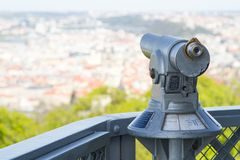 Telescope for tourists in Prague Royalty Free Stock Photography