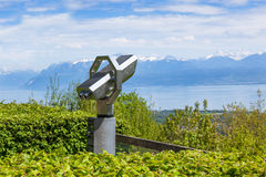 Telescope for tourists in Signal de Bougy in Switzerland Stock Images